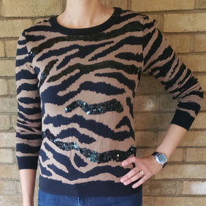 Forever21 Leopard Print and Black Sequin Sweater